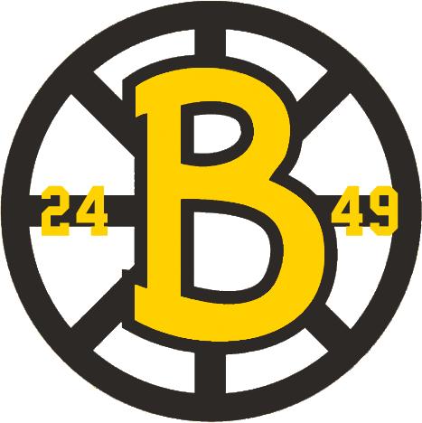Boston Bruins Logo Anniversary Logo (1948/49) - Boston Bruins 25th anniversary logo - a Spoked B with 24 and 49 symbolizing the years 1924-1949. This logo was worn on the front of the Boston Bruins white jersey during the 1948-49 season SportsLogos.Net