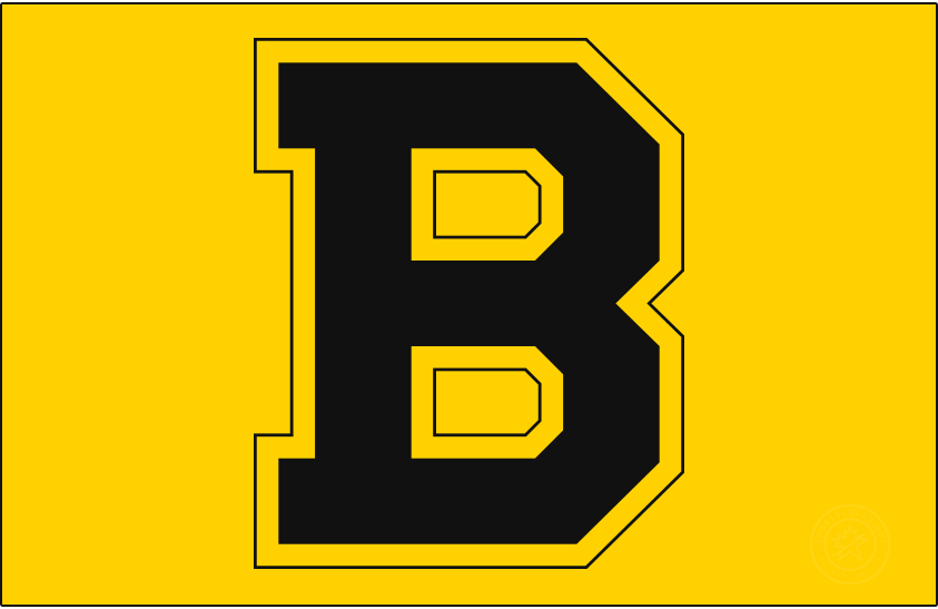 Boston Bruins Logo Primary Dark Logo (1933/34-1948/49) - The Boston Bruins finally made the switch to black and gold in the 1934-35 season after ten seasons using brown as their primary colour. The logo, a block 'B' trimmed in gold and shown here on gold, remained the same as prior seasons with a simple swap of colour from brown to black. Boston won two Stanley Cups in their fifteen seasons using this logo, they made the switch to their famous spoked 'B' logo from this design in 1949. SportsLogos.Net