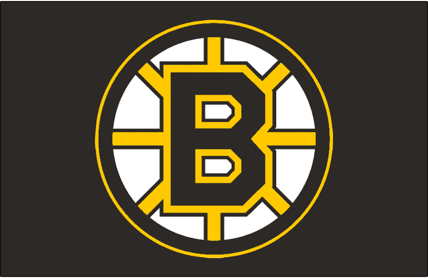 Boston Bruins Logo Jersey Logo (1995/96-2006/07) - A black and yellow spoked B on black, worn on the Boston Bruins road jersey from 1995-96 through 2002-03 and their home jersey from 2003-04 through 2006-07 SportsLogos.Net