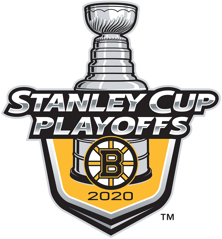 Boston Bruins Logo Event Logo (2019/20) - The Boston Bruins 2020 Stanley Cup Playoffs logo features the Bruins classic spoked B logo on a gold shield with STANLEY CUP PLAYOFFS written above in silver and 2020 below in black. A depiction of the top-half of the Stanley Cup can be seen above the shield. This logo is used by the Bruins on various materials throughout their participating in the 2020 NHL Stanley Cup Playoffs. SportsLogos.Net