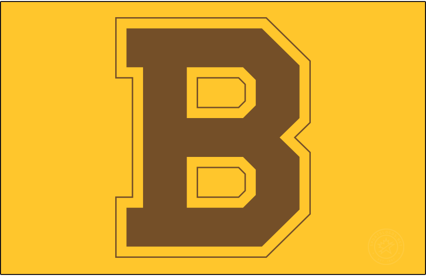 Boston Bruins Logo Primary Dark Logo (1932/33-1933/34) - The first appearance of their block 'B', the Boston Bruins adopted this logo for the 1932-33 season shown here on gold. This logo replacing the brown bear which had been used in various forms since their expansion season. This logo was simply a block, serifed 'B' in brown with alternating gold and brown outlines. The Bruins used this logo with this colour scheme for two seasons, replacing it in 1934 with a switch to their more familiar black and gold colours. SportsLogos.Net