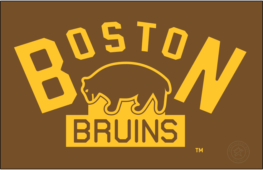 Boston Bruins Logo Primary Dark Logo (1924/25-1925/26) - The original Boston Bruins logo did not the team's familiar black and gold, instead brown was the Bruins primary colour for their first dozen or so seasons. The logo, shown here on brown, debuted for the 1924-25 season and showed a brown bear below BOSTON arched above in gold, BRUINS written below in brown on a yellow rectangle. The Bruins used this logo for their first two seasons before slightly adjusting it in 1926. SportsLogos.Net