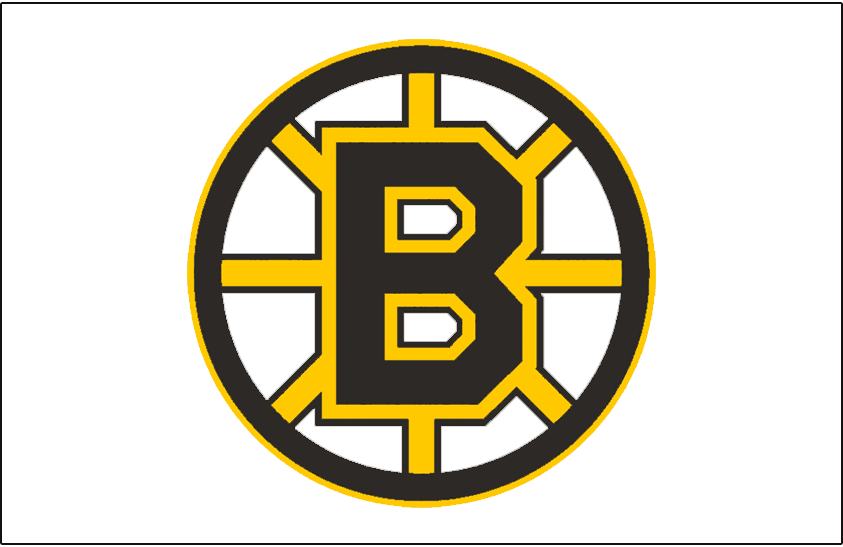 Boston Bruins Logo Jersey Logo (1995/96-2006/07) - A black and yellow spoked B on white, worn on the Boston Bruins home jersey from 1995-96 through 2002-03 and their road jersey from 2003-04 through 2006-07 SportsLogos.Net