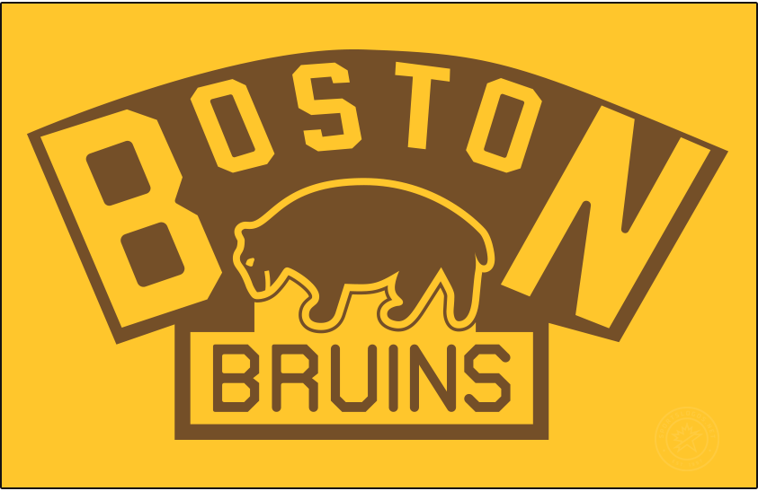 Boston Bruins Logo Primary Dark Logo (1924/25-1925/26) - The original Boston Bruins logo did not the team's familiar black and gold, instead brown was the Bruins primary colour for their first dozen or so seasons. The logo, shown here on gold, debuted for the 1924-25 season and showed a brown bear below BOSTON arched above in gold, BRUINS written below in brown on a yellow rectangle. The Bruins used this logo for their first two seasons before slightly adjusting it in 1926. SportsLogos.Net