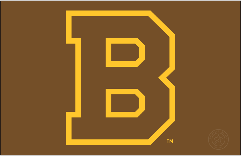 Boston Bruins Logo Primary Dark Logo (1932/33-1933/34) - The first appearance of their block 'B', the Boston Bruins adopted this logo for the 1932-33 season shown here on brown. This logo replacing the brown bear which had been used in various forms since their expansion season. This logo was simply a block, serifed 'B' in brown with alternating gold and brown outlines. The Bruins used this logo with this colour scheme for two seasons, replacing it in 1934 with a switch to their more familiar black and gold colours. SportsLogos.Net