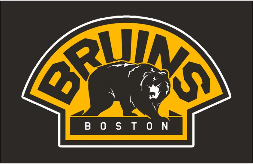 Boston Bruins Logo Jersey Logo (2008/09-2015/16) - A bear in black walking below BRUINS and above BOSTON styled similarly to their original team logos. Worn on their black alternate jersey starting with the 2008-09 season SportsLogos.Net