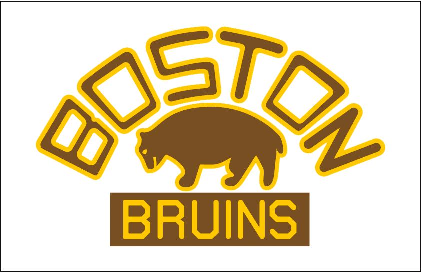 Boston Bruins Logo Jersey Logo (1926/27-1931/32) - A brown bear outlined in yellow below BOSTON arched in brown, worn on Boston Bruins jersey from 1926-27 until 1931-32 season SportsLogos.Net