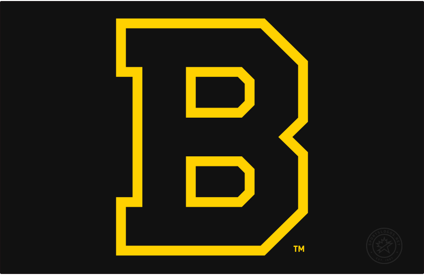 Boston Bruins Logo Primary Dark Logo (1933/34-1948/49) - The Boston Bruins finally made the switch to black and gold in the 1934-35 season after ten seasons using brown as their primary colour. The logo, a block 'B' trimmed in gold and shown here on black, remained the same as prior seasons with a simple swap of colour from brown to black. Boston won two Stanley Cups in their fifteen seasons using this logo, they made the switch to their famous spoked 'B' logo from this design in 1949. SportsLogos.Net