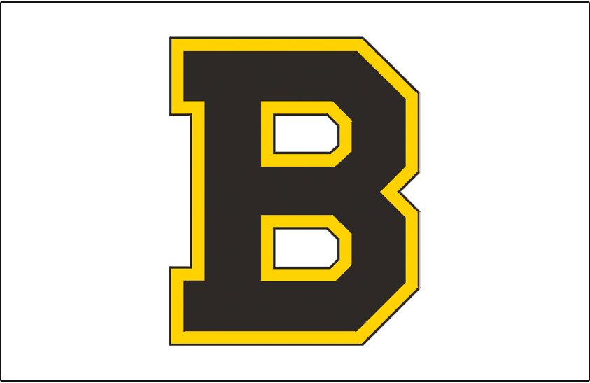 Boston Bruins Logo Jersey Logo (1934/35-1939/40) - Black and yellow B on white, worn on the front of the Boston Bruins jersey in the 1934-35 and 1935-36 seasons. Starting in 1936-37 the Bruins wore a player number on the front of their jersey instead of a logo which was moved to the arm of the uniform. This logo was worn on the arm of that jersey from 1936-37 until 1939-40 SportsLogos.Net