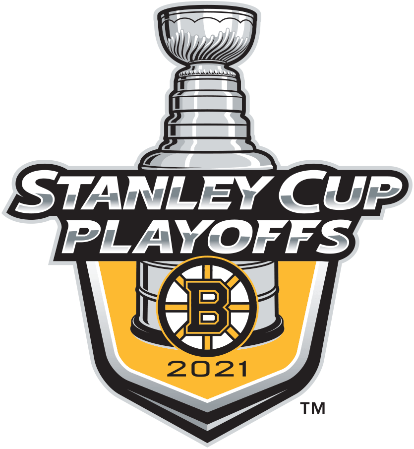 Boston Bruins Logo Event Logo (2020/21) -  The Boston Bruins 2021 Stanley Cup Playoffs logo features the Bruins spoked B logo on a yellow shield with STANLEY CUP PLAYOFFS written above in silver and 2021 below in black. A depiction of the top-half of the Stanley Cup can be seen above the shield. This logo is used by the Bruins on various materials throughout their participation in the 2021 NHL Stanley Cup Playoffs. SportsLogos.Net