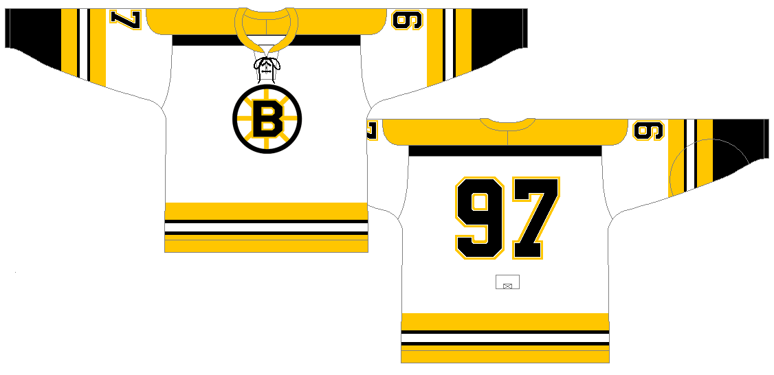 Boston Bruins Uniform Light Uniform (1967/68) - For the 1967-68 season (the season of the 6 team expansion) the Bruins completely redesigned their sweaters.  SportsLogos.Net