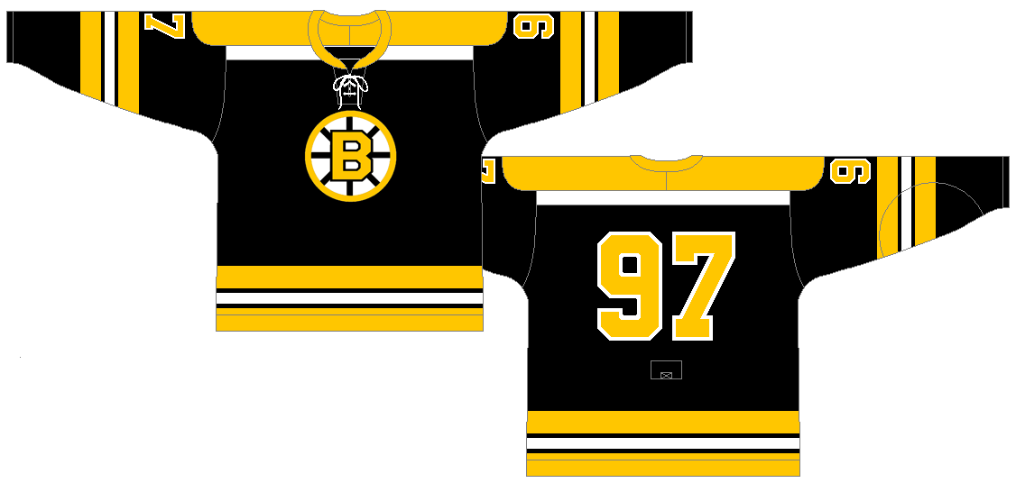 Boston Bruins Uniform Dark Uniform (1967/68-1973/74) - Home Jersey (1967/68-1968/69)<br /> Road Jersey (1969/70-1973/74)<br /> <br /> For the 1967-68 season (the season of the 6 team expansion) the Bruins completely redesigned their sweaters ditching the gold sweater for good and replacing it with a black one. SportsLogos.Net