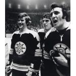 Boston Bruins (1972) Bobby Orr and Phil Esposito wearing Boston Bruins road uniform during 1971-72 season