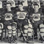 Boston Bruins (1929) Eddie Shore, Lionel Hitchman, Cy Denneney posing for team photo during Boston Bruins 1928-29 season