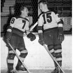 Boston Bruins (1938) Cooney Weiland and Milt Schmidt of the Boston Bruins during the 1937-38 season