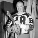 Boston Bruins (1940) Mel Hill of the Boston Bruins before a game during the 1939-40 season