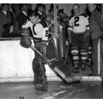 Boston Bruins (1939) Frank Brimsek and Eddie Shore head onto the ice for the Boston Bruins during the 1938-39 season