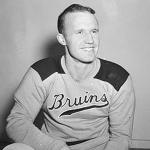Boston Bruins (1943) Hart Trophy Winner Bill Cowley wearing the Boston Bruins alternate gold sweater during the 1942-43 season