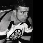 Boston Bruins (1949) Frank Brimsek wearing the Boston Bruins 25th anniversary home jerseys during the 1948-49 season