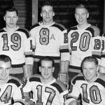 Boston Bruins (1948) Boston Bruins players pose for a team photo, an early use of the Alternate Captain patch on one jersey, during the 1947-48 season