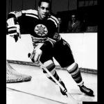 Boston Bruins (1960) Willie ORee wearing the Boston Bruins alternate black uniform during the 1959-60 season