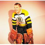 Boston Bruins (1958) Harry Lumley wearing the Boston Bruins white jersey during the 1957-58 season