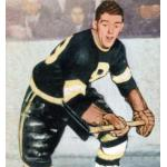 Boston Bruins (1949) Johnny Peirson wearing the Boston Bruins black jersey during the 1948-49 season