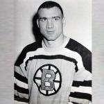 Boston Bruins (1957) Jerry Topp wearing the Boston Bruins yellow home jersey during the 1956-57 season