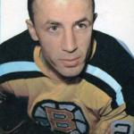 Boston Bruins (1962) Andre Pronovost wearing the Boston Bruins yellow home jersey during the 1961-62 season
