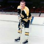 Boston Bruins (1969) Bobby Orr wearing the black Boston Bruins jersey in 1968-69, club only wore white socks with black jersey for two seasons in late 1960s