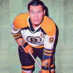 Boston Bruins (1969) Johnny Bucyk wearing the Boston Bruins white uniform during 1968-69 season
