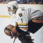 Boston Bruins (1983) Pete Peeters wearing the Boston Bruins white uniform during the 1982-83 season