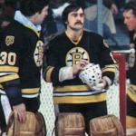 Boston Bruins (1981) Rogie Vachon wearing the Boston Bruins black uniform during the 1981-82 season