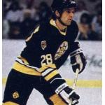 Boston Bruins (1986) Reed Larson wearing the Boston Bruins black uniform during the 1985-86 season
