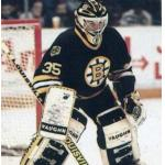 Boston Bruins (1990) Andy Moog wearing Boston Bruins road black uniform during 1989-90 season