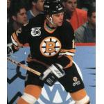 Boston Bruins (1992) Adam Oates wearing Boston Bruins road black jersey with NHL 75th anniversary patch on jersey during 1991-92 season