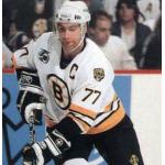 Boston Bruins (1992) Ray Bourque wearing Boston Bruins home white jersey with NHL 75th anniversary patch on jersey during 1991-92 season