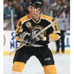 Boston Bruins (1996) Joe Mullen wearing Boston Bruins black road uniform with 1996 NHL All-Star Game in Boston patch during 1995-96 season