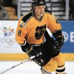 Boston Bruins (1997) Joe Thornton wearing Boston Bruins gold alternate uniform during 1996-97 season