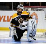 Boston Bruins (2011) Tim Thomas in the Boston Bruins black home uniform with 2011 Stanley Cup Final patch during the 2011 Stanley Cup Finals