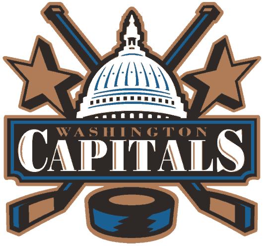 Washington Capitals Logo Alternate Logo (1995/96-2001/02) - U.S. Capitol dome flanked by hockey sticks and stars SportsLogos.Net
