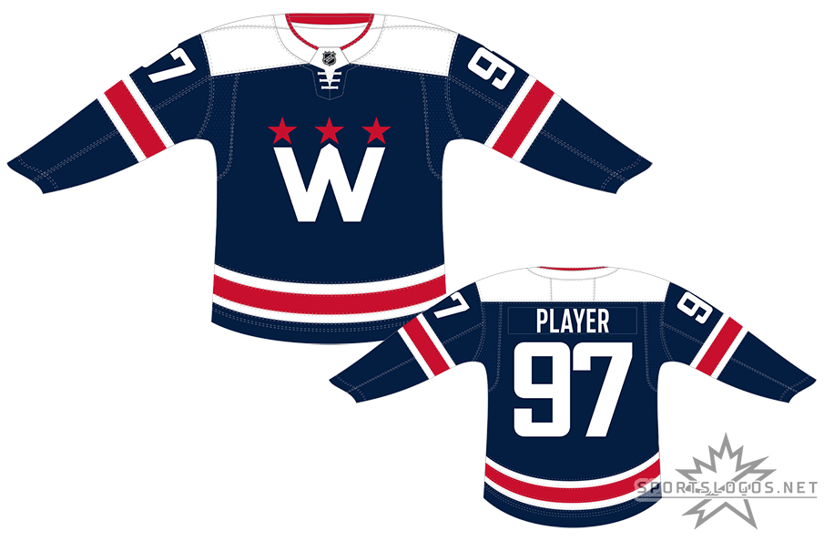 Washington Capitals Uniform Alternate Uniform (2020/21-Pres) - The Washington Capitals introduced a new navy blue alternate uniform for 2020-21 modelled after their previous outdoor game designs. The logo on the chest features a white W with the Washington Monument in the middle and three red stars above representing the capital area regions of Maryland, Virginia, and Washington, D.C. SportsLogos.Net