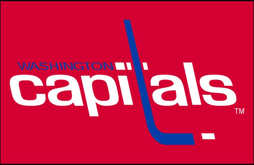 Washington Capitals Logo Primary Dark Logo (1974/75-1994/95) - Washington Capitals original primary logo on red SportsLogos.Net
