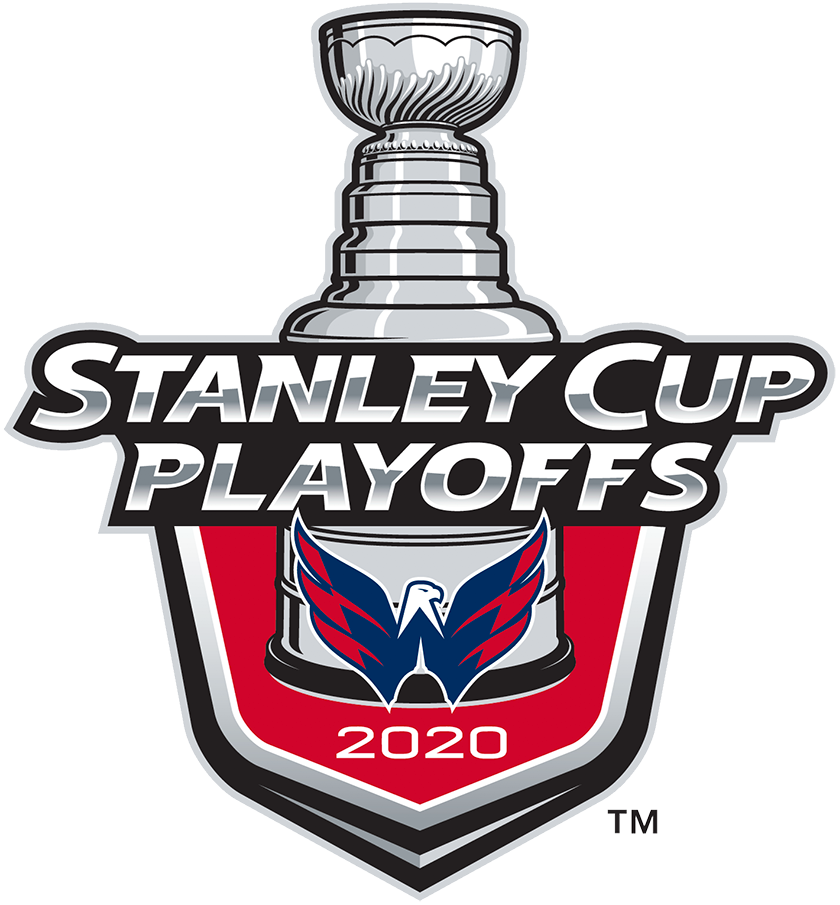 Washington Capitals Logo Event Logo (2019/20) - The Washington Capitals 2020 Stanley Cup Playoffs logo features the Caps alternate logo of an eagle in the shape of a W on a red shield with STANLEY CUP PLAYOFFS written above in silver and 2020 below in white. A depiction of the top-half of the Stanley Cup can be seen above the shield. This logo is used by the Capitals on various materials throughout their participation in the 2020 NHL Stanley Cup Playoffs. SportsLogos.Net