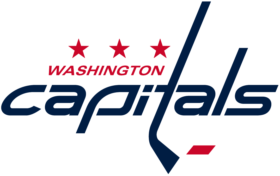 Washington Capitals Logo Primary Logo (2007/08-Pres) - 'capitals' in blue italics, the 't' as a stick; hockey puck in red below SportsLogos.Net