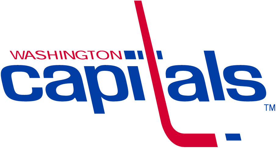 Washington Capitals Logo Primary Logo (1974/75-1994/95) - Capitals in blue lowercase letters, the t in Capitals is a hockey SportsLogos.Net
