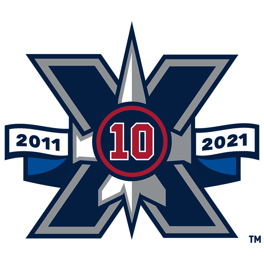 Winnipeg Jets Logo Anniversary Logo (2020/21) - In honour of ten seasons since their relocation from Atlanta, the Winnipeg Jets wore this commemorative 10th season logo on their jerseys in the 2020-21 NHL season. The logo shows a large navy blue X (Roman numeral for 10) with a silver jet from their primary logo, a ribbon showing their first and current seasons, and a red 10 within a blue and red circle. This red 10 was added in memory of Dale Hawerchuk, the longtime captain of the original Winnipeg Jets NHL franchise who died on August 18, 2020 SportsLogos.Net