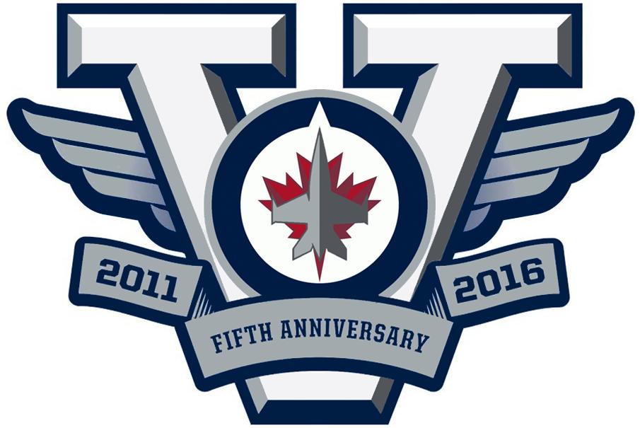 Winnipeg Jets Logo Anniversary Logo (2015/16) - Winnipeg Jets 5th Anniversary Logo, was not a patch worn on team jersey SportsLogos.Net