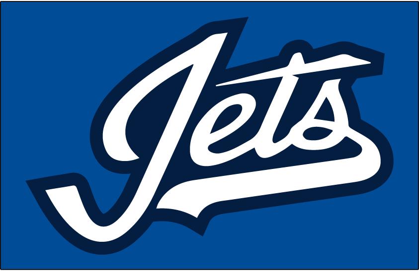 Winnipeg Jets Logo Jersey Logo (2018/19-Pres) - Jets in white script with blue outline on aviator blue, a jet crossing the T. Worn on Winnipeg Jets alternate uniform starting in 2018-2019 SportsLogos.Net