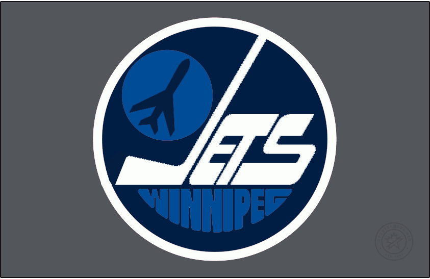 Winnipeg Jets Logo Special Event Logo (2020/21) - The Winnipeg Jets Reverse Retro logo, a throwback to the 1979 season and the original Jets NHL franchise. Shows the Jets logo of the time - JETS in white on a navy blue circle with a jet taking off to the left, but now recoloured in the modern Jets colour scheme. Worn on a silver jersey. SportsLogos.Net